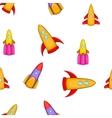 Space rocket pattern cartoon style vector image vector image