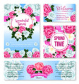 springtime flower greeting card banner template vector image vector image