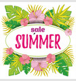 summer sale background with tropical palm leaves 3 vector image vector image