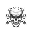vintage monochrome skull in sailor hat vector image vector image