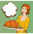 woman with thanksgiving vector image vector image