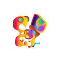 young orange gradient alien teenager programer vector image