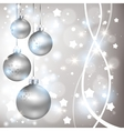 Christmas shiny silver background with balls vector image