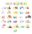 ABC Children alphabet with cute cartoon animals vector image vector image