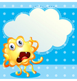 An ugly monster in front of the empty cloud vector image vector image