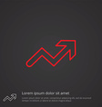 arrow up outline symbol red on dark background vector image vector image