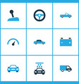 auto icons colored set with chronometer stick vector image vector image