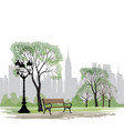 bench and streetlight in park city background vector image vector image