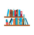 bookshelf with colorful books flat reading books vector image