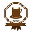 brown border heraldic decorative ribbon with dish vector image vector image