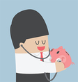 Businessman use stethoscope checking health of pig vector image vector image