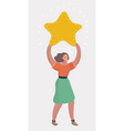 businesswoman holding big star vector image vector image