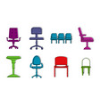 chairs icon set color outline style vector image vector image