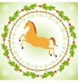 Christmas horse in round frame vector image vector image