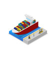 container ship in port isometric 3d icon vector image vector image
