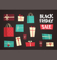 different gift boxes with black friday sale text vector image