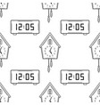 electronic watch and cuckoo clock black and white vector image vector image
