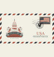 envelope with washington capitol and american flag vector image