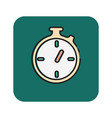 flat color stopwatch icon vector image