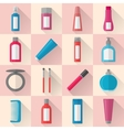 Flat makeup and cosmetics icons set vector image vector image