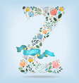 floral letter z with blue ribbon vector image vector image