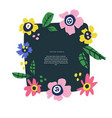 floral text circle frame hand drawn flat layout vector image