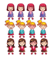 Girls emotions set vector image