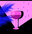 glass wine and palm trees vector image vector image
