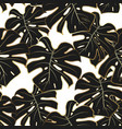 gold black and white monstera seamless pattern vector image vector image