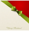Greeting card with green polka dot bow vector image vector image