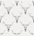 grunge seamless pattern with bull skull and vector image