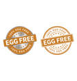 grunge stamp and silver label egg free vector image vector image
