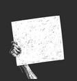 hand holding blank white banner white sketch on vector image