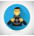 Happy Smiling Driver Character with Car Wheel Icon vector image