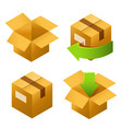 isometric cardboard boxes set icons delivery and vector image vector image