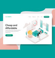 landing page template cheap and affordable vector image vector image