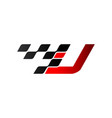 letter u with racing flag logo vector image vector image