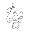 line drawing a beautiful woman 2 vector image vector image