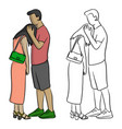 man comforting his sad lover sketch vector image vector image