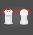 mockup women t-shirt with red sleeves realistic vector image vector image