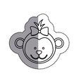 monochrome contour sticker with female monkey head vector image vector image