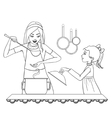 Mother and daughter tests food in the kitchen vector image
