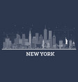 outline new york usa city skyline with white vector image vector image