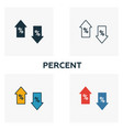 percent icon set four elements in diferent styles vector image