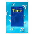 planes are flying on blue sky background time to vector image
