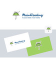 raining and umbrella logotype with business card vector image vector image