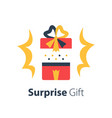red box with ribbon surprise shiny gift vector image