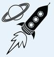 rocket ship and planet saturn vector image vector image