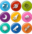 Round icons with things in the outerspace vector image vector image