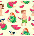 seamless pattern with children eating watermelon vector image vector image